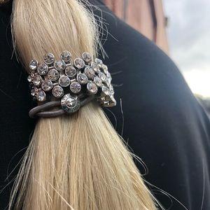 Henri Bendel Hair tie silver rare dressy unique